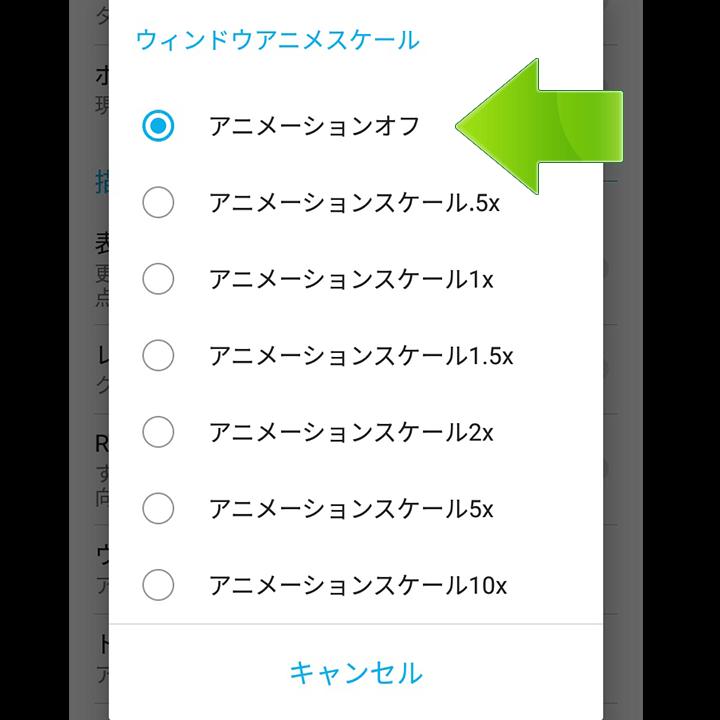 ウィンドウアニメスケールOFF